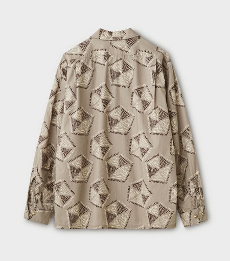 Phigvel Makers & Co. Traditional Pattern L/S Open Collar Shirt - Taupe Gray