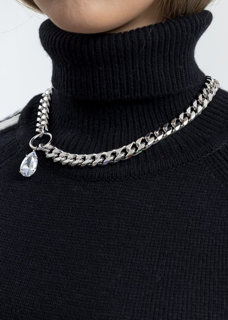 Cha Ching Rhinestone Water Drop Cuba Link Necklace - silver