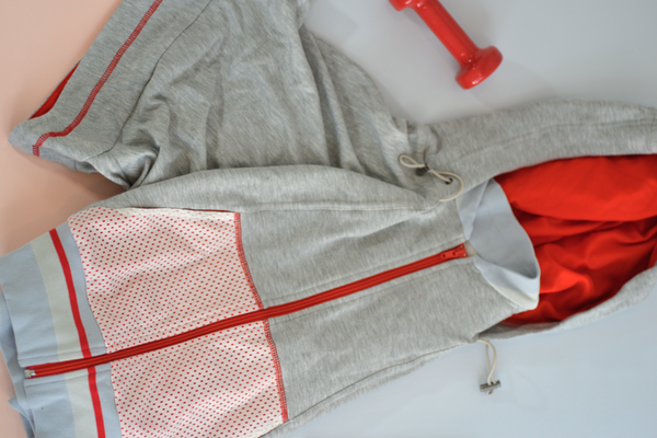 VPL Zip Hood Throw: Heather Grey x Fiery Red