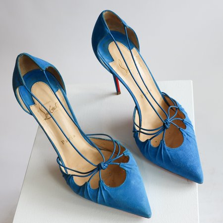 [Pre-loved] Christian Louboutin Suede Pumps - Turquoise