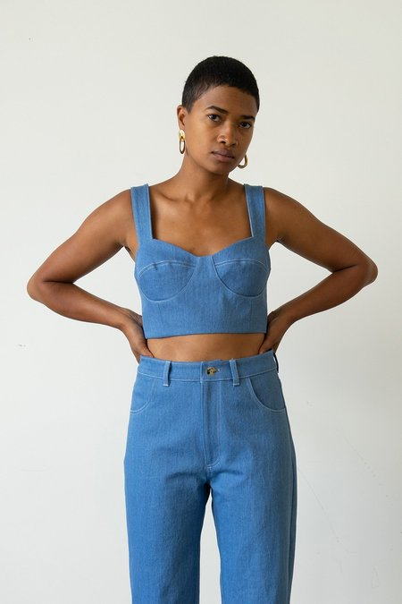 Waltz Bralette Top - French Blue Denim