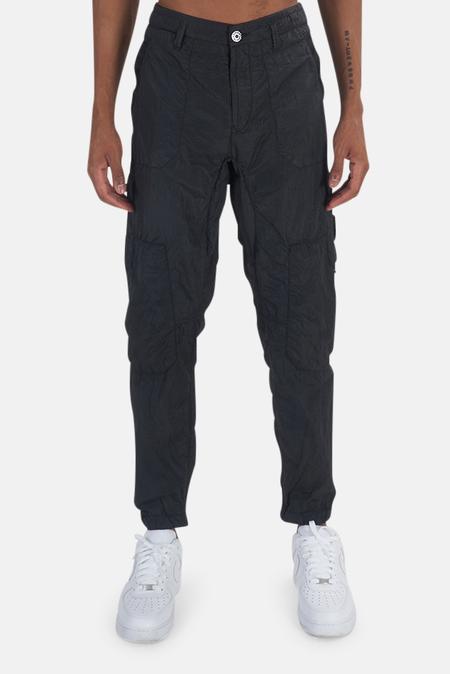 Stone Island Nylon Seersucker Cargo Trousers - Black