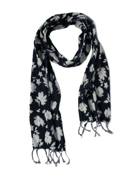 Corridor Crinkle Linen Scarf - Navy Floral