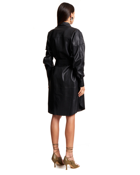 Remain Belted Shirt Dress - Black