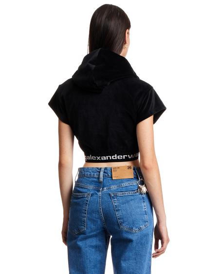 T by Alexander Wang Cropped Short Sleeve Hoodie - Black