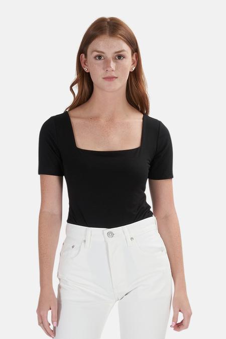 Re/Done 80s Square Neck Bodysuit - Black