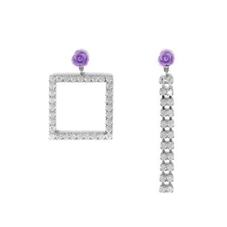 Joomi Lim Asymmetrical Crystal Square & Crystal Chain Earrings W/ Resin Roses