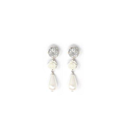 Joomi Lim Crystal, Resin Rose & Pearl Earrings