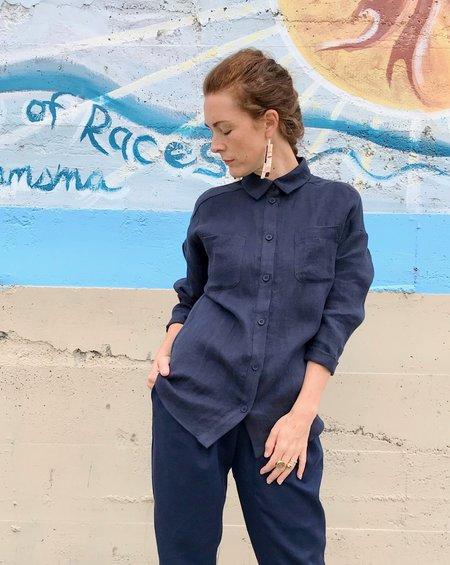 Valérie Dumaine Cypress Soft Linen Shirt - Navy