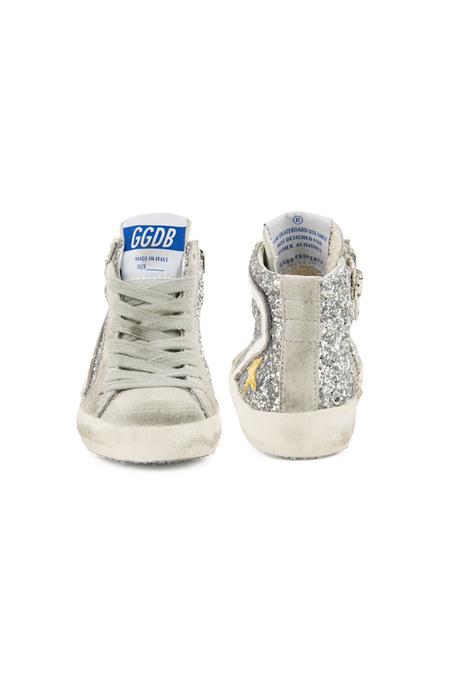 Kids Golden Goose Slide Sneaker Shoes - Silver glitter
