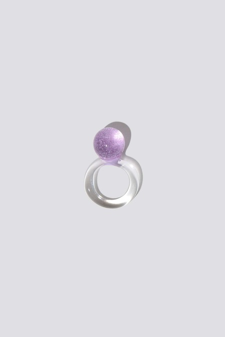 JANE D'ARENSBOURG Orb Glass Ring - Lilac