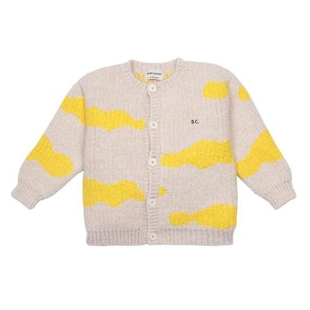 Kids Bobo Choses Cardigan With All Over Clouds Pattern - Cream