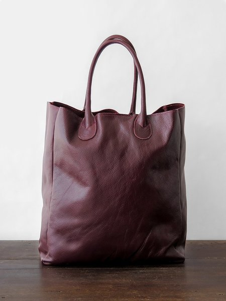 Erica Tanov Leather Shopping Tote - Burgundy