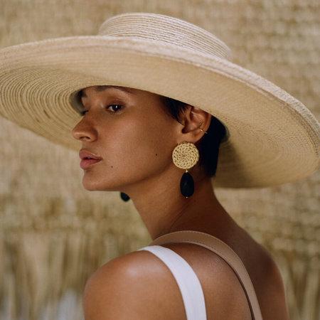 Crescionia Terra Earrings Palm And Glass