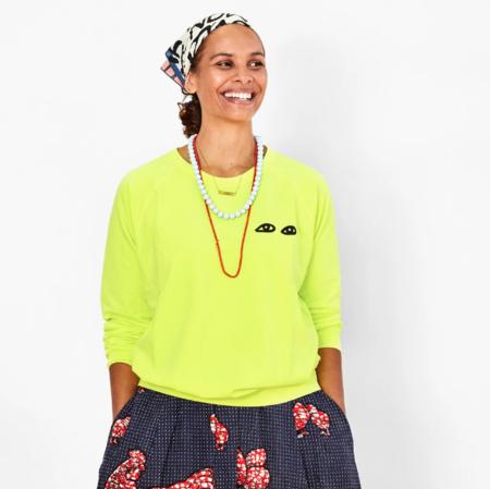 Clare V. Eyes Sweatshirt - Neon Yellow