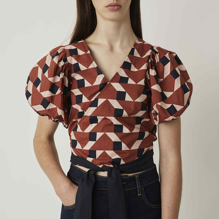 Just Female Meghan Wrap Blouse - Trapez Print