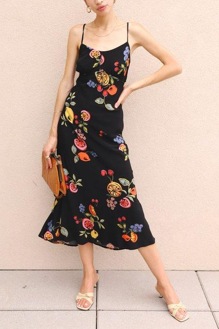 ASTR The Label Midi Dress - Black Fruit Print
