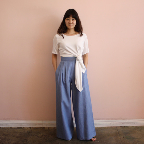 Sechung tie tee - white crepe