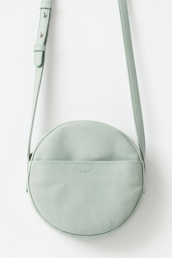 BAGGU Milled Leather Circle Purse in Seaglass