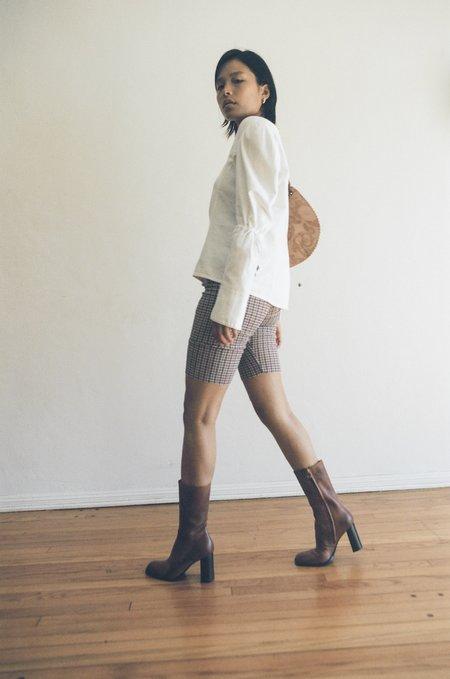 VINTAGE Pleat Front Blouse in Soft Cotton