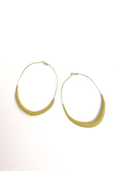 """Natural 2.5"""" Glazed Gold Oval Hoop"""