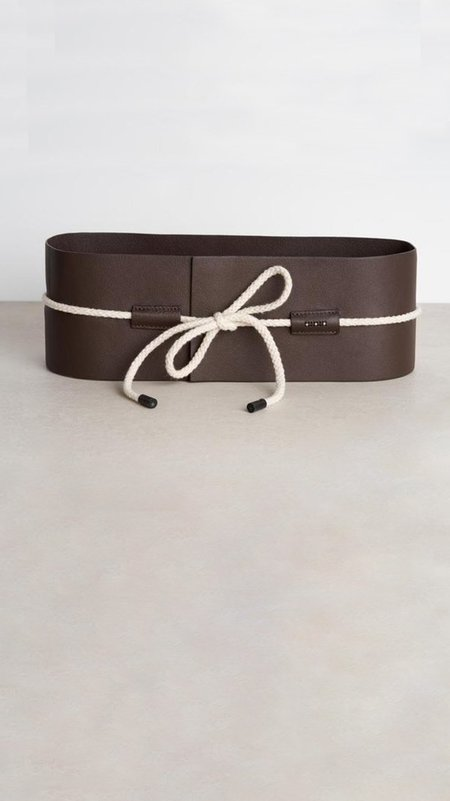Peserico Leather Sash Belt with Rope Tie