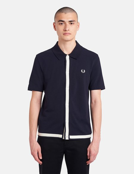 Fred Perry Reissue Pique Button Through Shirt - Navy Blue