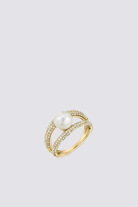 Gabriela Artigas Pave Pearl Twin Ring - 14K Yellow Gold