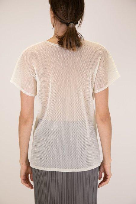 Issey Miyake Pleats Please Tatami Short Sleeve Top - White