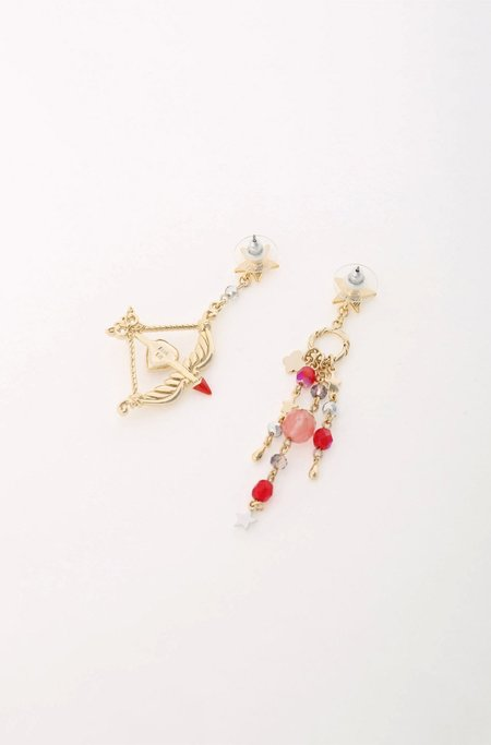 Vendome Bow and Arrow Earrings - Gold/Red