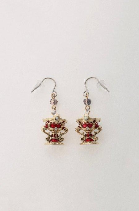 Vendome Goblet Earrings - Gold/Red