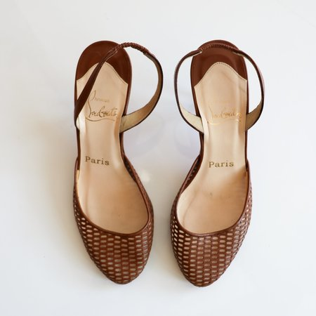 [Pre-loved] Christian Louboutin Slingback Pumps - Tan