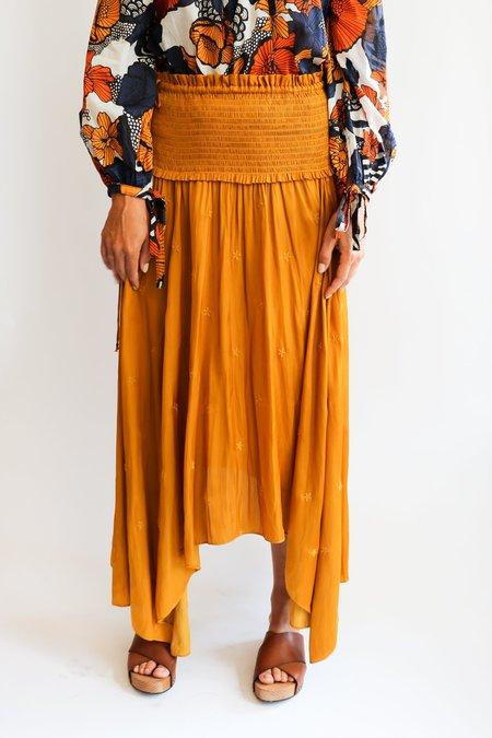 [Pre-loved] Ulla Johnson Eyelet Midi Skirt - Golden Yellow