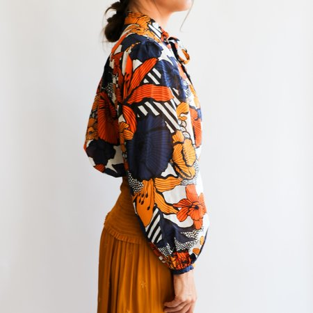[Pre-loved] Warm Printed Blouse