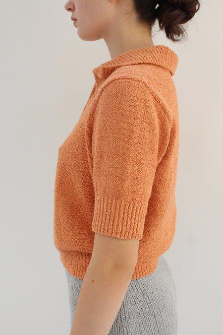 Beklina Bouclé Knit Polo - Apricot