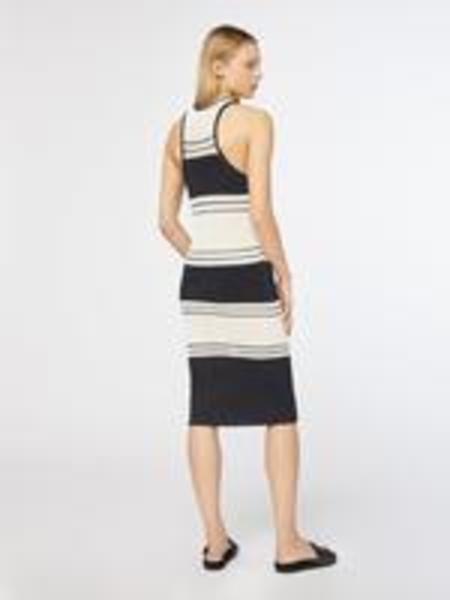FRAME Denim Open Knit Stripe Dress - Off White/Black