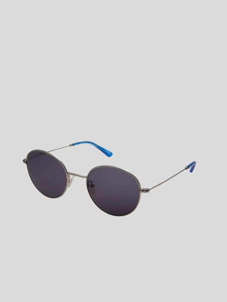 Sun Buddies Ozzy Sunglasses - Silver Silicone/Valley Blue