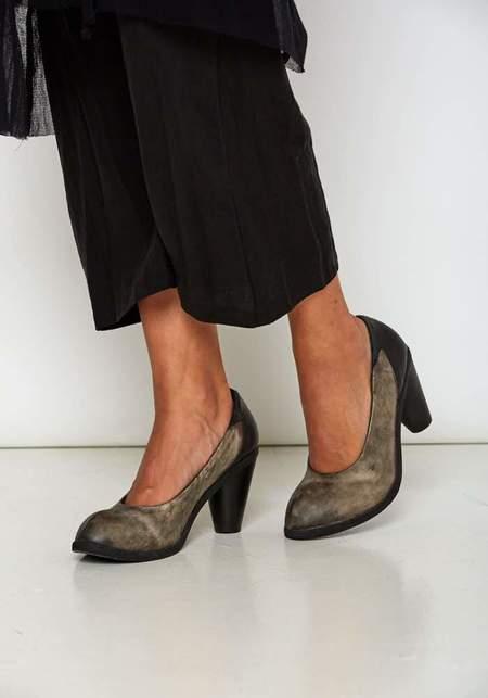 Nutsa Modebadze Leather Wrapped Carved Heel Suede Pump - DARK SWEET CORN