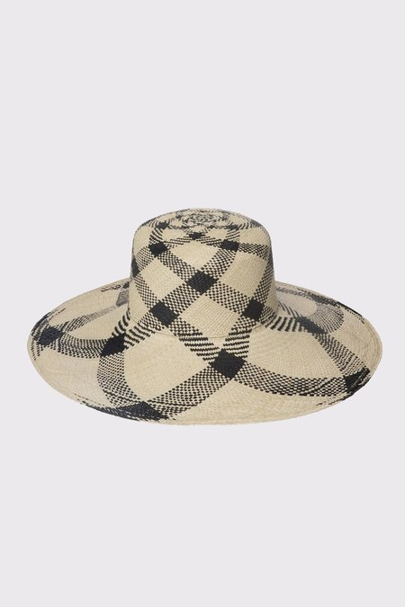 Clyde Medium Brim Flat Top Hat - Plaid Panama