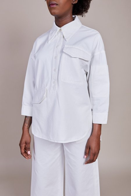 Tibi Twill Oversized Cocoon Shirt - White