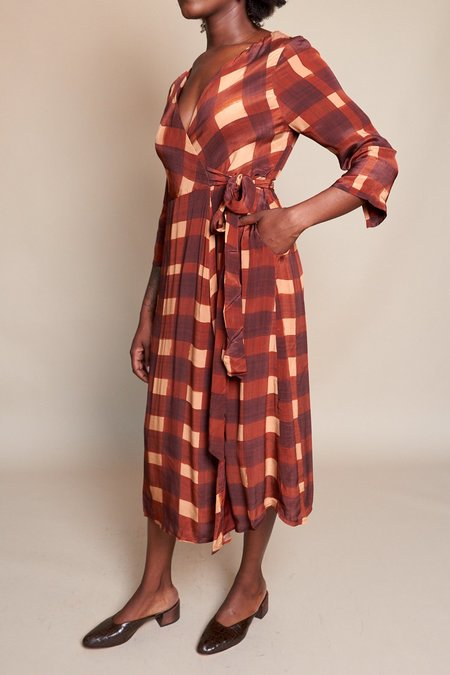 Wray Wrapped Dress - Painted Check