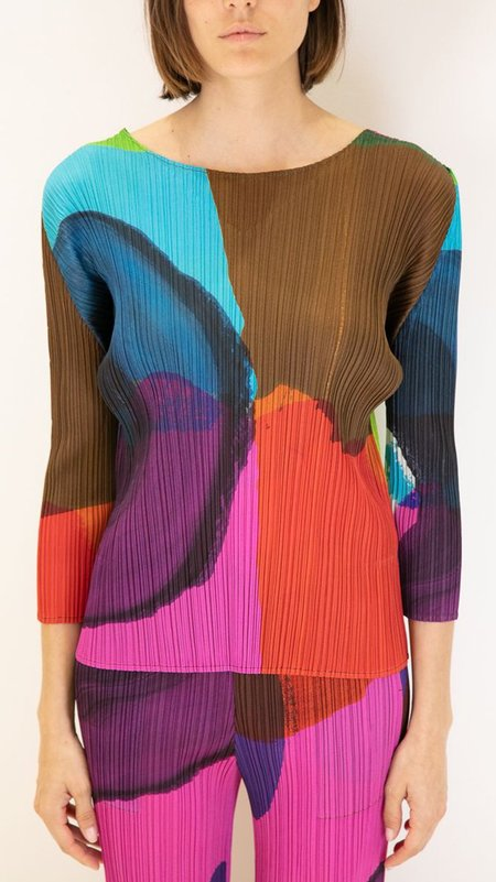 Issey Miyake Pleats Please 3/4 Sleeve V Neck Top - Multi Colored