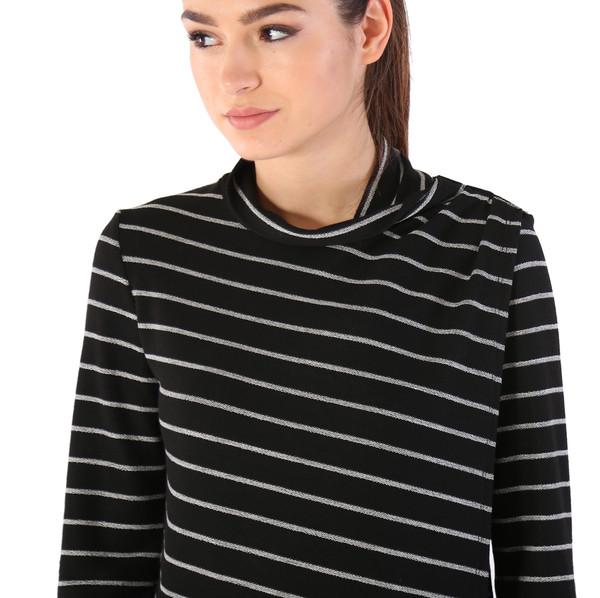 Shay & Coco Asymmetrical Zip Cardigan in Black & White Stripe
