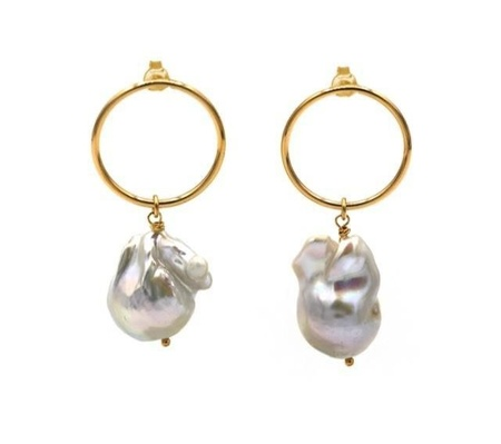 Maisonirem Baroque Pearl Earrings - Gold
