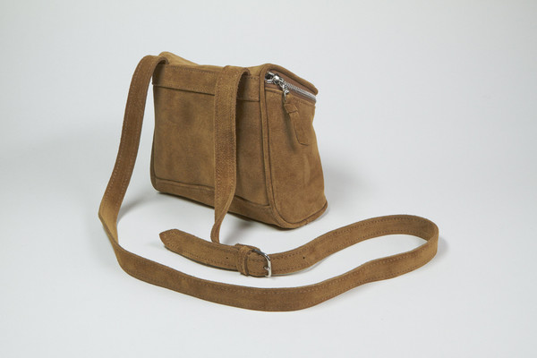 Clyde Camera Bag in Golden Brown Suede