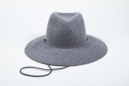 Clyde Wide Brim Pinch Hat w. Drawstring in Heather Grey