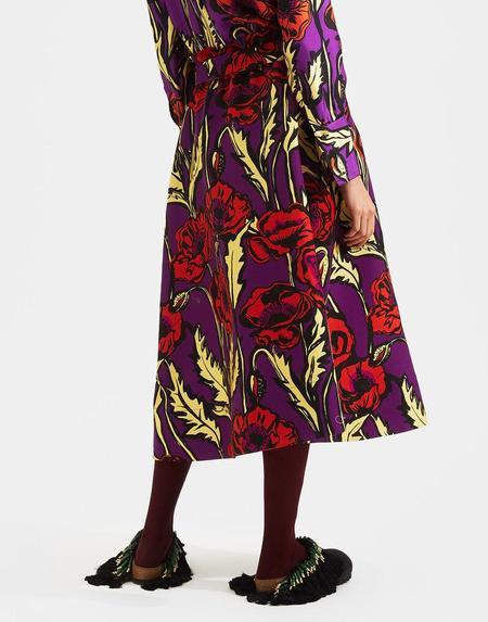 LA Double J Sardegna Skirt - Big Blooms Viola