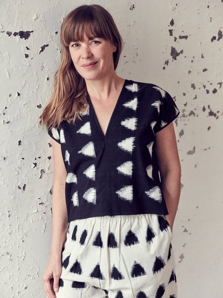 H. Fredriksson Ikat Love Top - Black/Cream