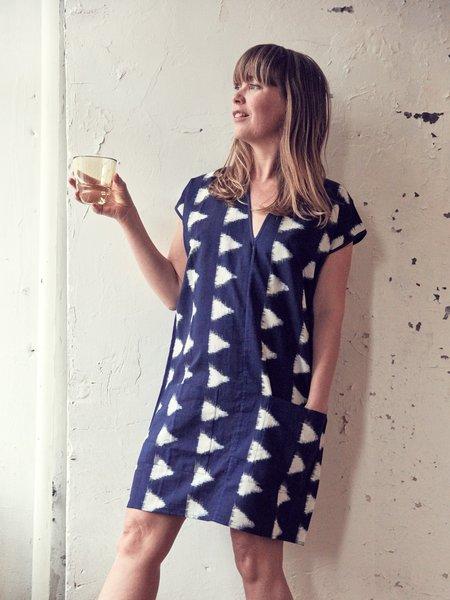 H. Fredriksson Ikat Love Dress - Navy/Cream