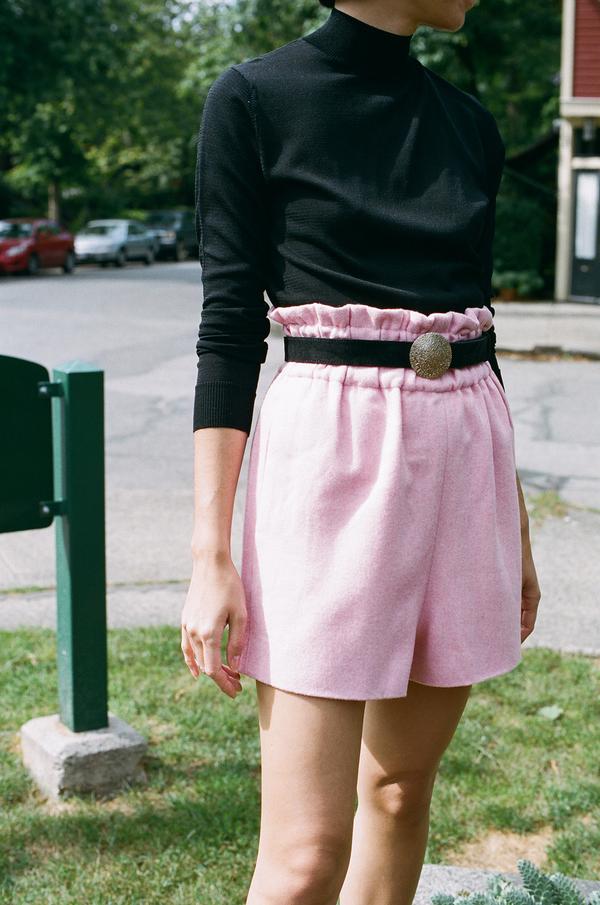Ganni Hawthorne Wool Shorts - peony